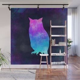 OWL IN SPACE // Animal Graphic Art // Watercolor Canvas Painting // Modern Minimal Cute Wall Mural