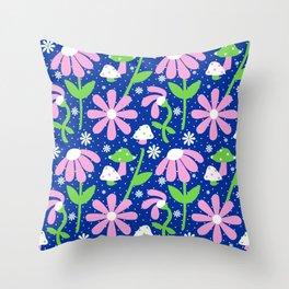 60's Mushrooms + Daisies Throw Pillow