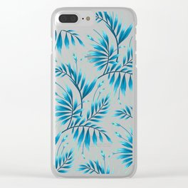 Waikiki Palm - Petrol Blue Clear iPhone Case