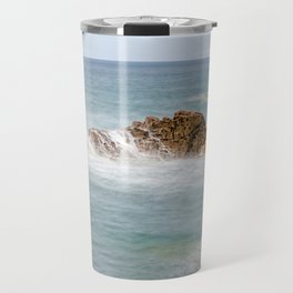 Waves splashing against rocks Travel Mug