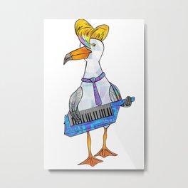 Seagull on Keytar Metal Print