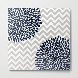 Chevron Floral Modern Navy and Grey Metal Print