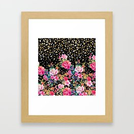 Modern watercolor spring floral and gold dots pattern Framed Art Print