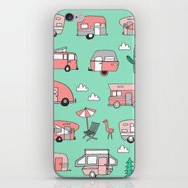 Camper summer vacation tropical pattern RV van life print by andrea lauren iPhone Skin