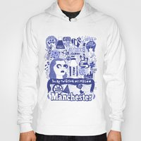 manchester Hoodies featuring Manchester by leeann walker illustration
