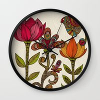 valentina Wall Clocks featuring In the garden by Valentina Harper