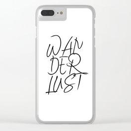 Wanderlust, typography, bohemian art, bohemian nursery, digital download Clear iPhone Case