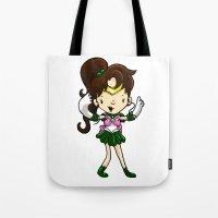 sailor jupiter Tote Bags featuring Sailor Scout Sailor Jupiter by Space Bat designs