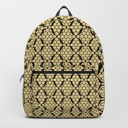 High Heel Shoe with Gold and Black Fishnet Lace Decor Pattern Backpack