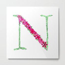 Floral Monogram Letter N Metal Print