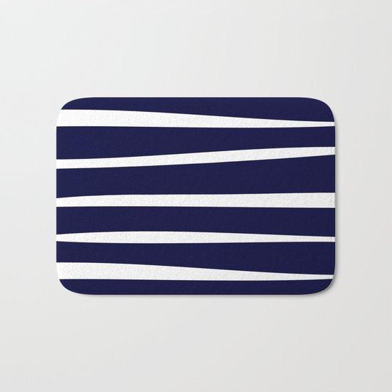 Blue- White- Stripe - Stripes - Marine - Maritime - Navy - Sea - Beach - Summer - Sailor 4 Bath Mat