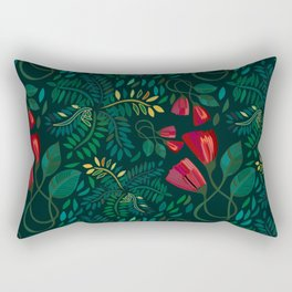Reds and Greens Petals and Leaves Rectangular Pillow