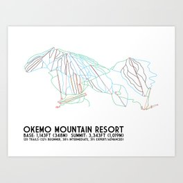 Okemo Mountain Resort, VT - Minimalist Trail Art Art Print