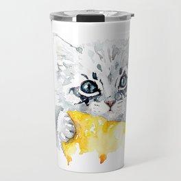 Kitten with a yellow blanket Travel Mug
