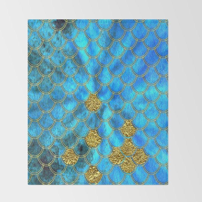 Blue Aqua Turquoise And Gold Glitter Mermaid Scales -Beautiful Mermaidscales Pattern Throw Blanket