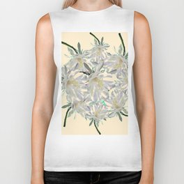 WHITE  NIGHT BLOOMING TROPICAL CEREUS  ON CREAM ART Biker Tank