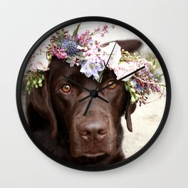 Flower Crown Beautiful Dog Portrait Wall Clock