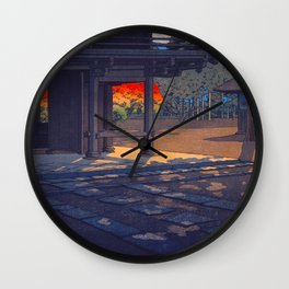 Vintage Japanese Woodblock Print Colorful Fall Trees Shinto Shrine Japanese Architecture Wall Clock
