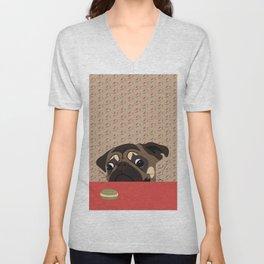 Le pug et le macaron Unisex V-Neck