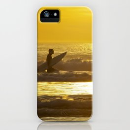 Sunset and Surfer in Ocean Beach San Francisco iPhone Case