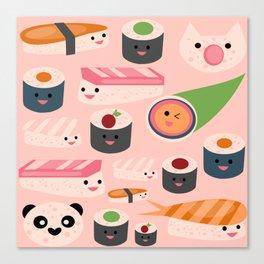 Kawaii sushi light pink Canvas Print