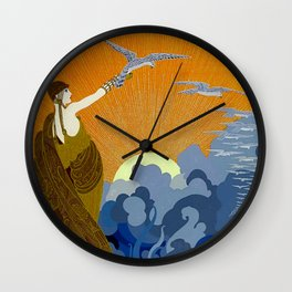 """""""Wings of Victory"""" Art Deco Design Wall Clock"""
