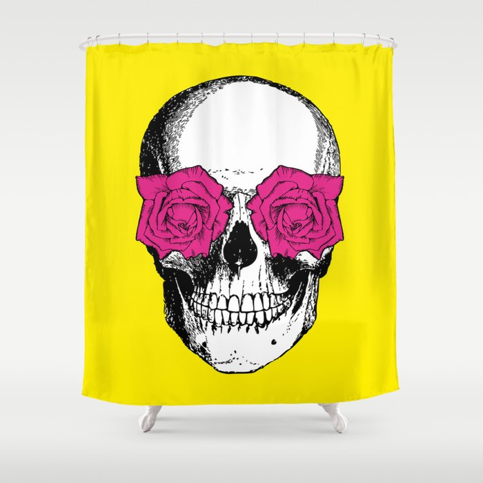 Skull And Roses | Yellow And Pink Shower Curtain