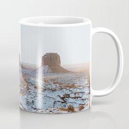 Arizona winter Monument Valley snow Colorado Plateau West Mitten Butte East Mitten Butte Merrick Butte winter landscape USA Coffee Mug