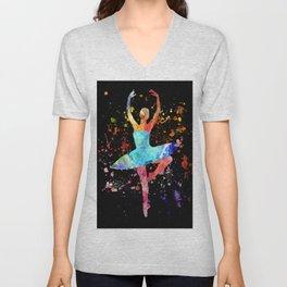 Ballerina Blacky Black Unisex V-Neck