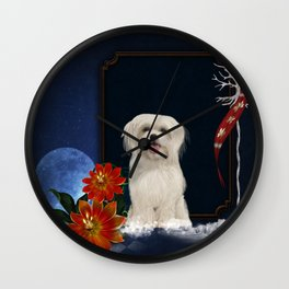 Cute little havanese puppy with flowers Wall Clock
