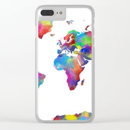 world map colorful 2 Clear iPhone Case