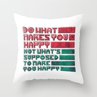 be happy Throw Pillows featuring Happy by Hector Mansilla