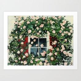 Cat In Window Of Roses Art Print