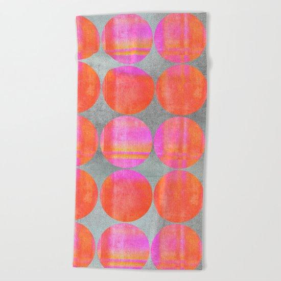 orange dots mixed media modern pattern Beach Towel