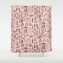 Pink and black leaves Shower Curtain