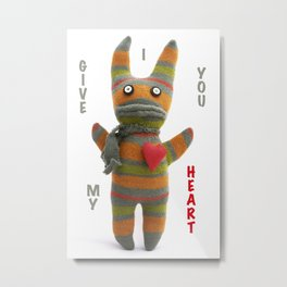 Sock doll monster with heart Metal Print