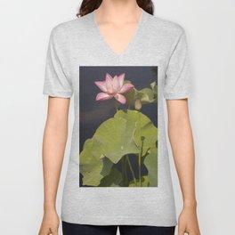 Pink Lotus by Teresa Thompson Unisex V-Neck