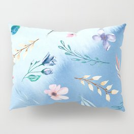 Flowers and lraves on blue watercolor background. Pillow Sham