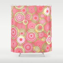 Kooky kaleidoscope Coral Shower Curtain