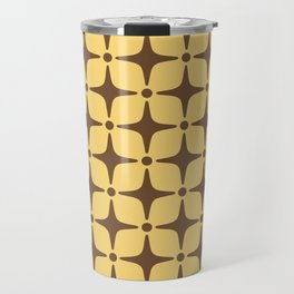 Mid Century Modern Star Pattern Brown and Yellow Travel Mug