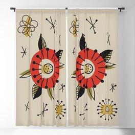 Red Mid Century Modern Flower  Blackout Curtain