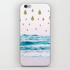Beach and gold drops iPhone & iPod Skin