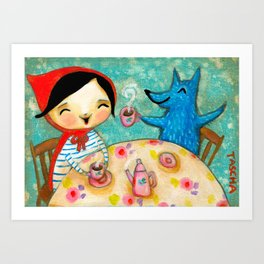 Little Red Riding Hood TEA party with Wolf by Tascha Art Print