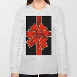 Red Bow on black Long Sleeve T-shirt