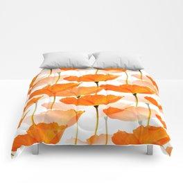 Orange Poppies On A White Background #decor #society6 #buyart Comforters