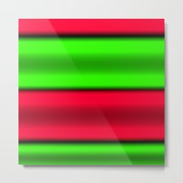 Green & Red Horizontal Stripes Metal Print
