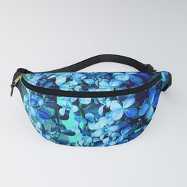 Periwinkle Blue Flowers Cascading Down Green Planter Fanny Pack