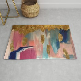 Gold Leaf & Indigo Blue Abstract Rug