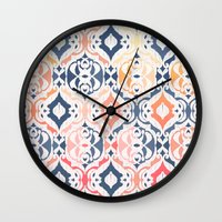 damask Wall Clocks featuring Tropical Ikat Damask by micklyn