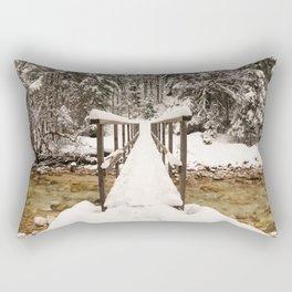 Pericnik Falls Snowy Bridge Rectangular Pillow